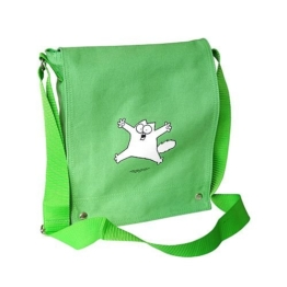 "Tote Bag Umhängetasche grün ""jumping cat"" (Simon´s Cat) -"